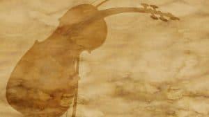 Imagem de um violino impressa em um papel velho e desgastado.