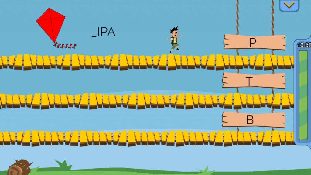Print do jogo mostra Bob, o personagem, ajudando o jogador a selecionar as letras para completar as palavras, objetivo principal do jogo. Sugestão de férias 2.