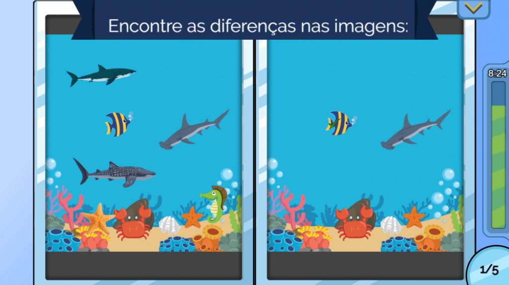 Tela do jogo Praia exibe jogo dos sete erros com uma imagem do fundo do mar repleta de peixes, corais e tubarões. Sugestão de férias 1.
